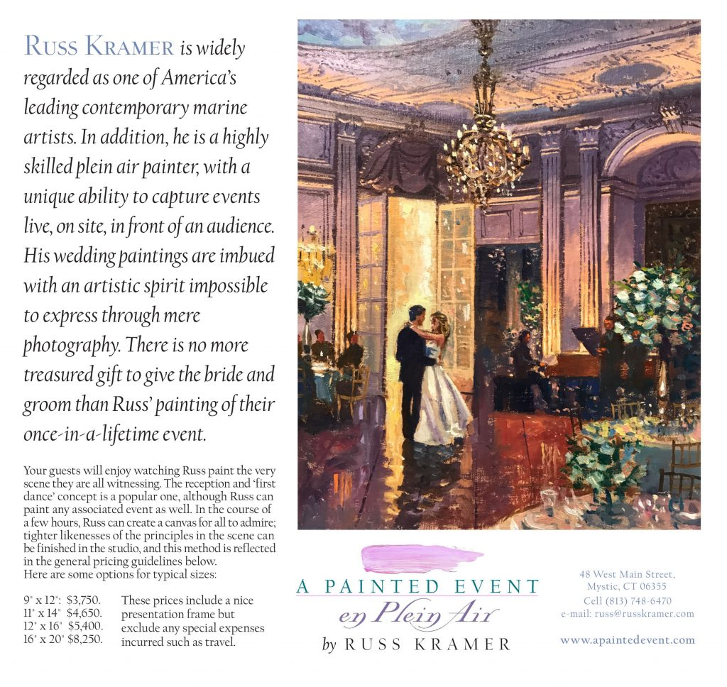 Information and pricing on Russ Kramer's live wedding painting